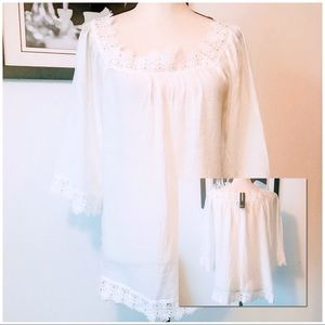 NWT! WHITE NEW DIRECTIONS CROCHETED CHIFFON TOP
